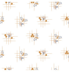 Bee and flowers seamless pattern hand vector