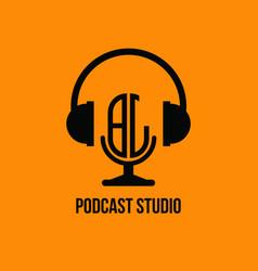 Bj monogram headphone and microphone style vector