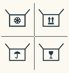 Boxes line icon set vector