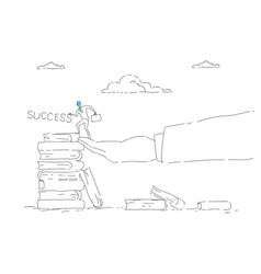 Business man climb books stack education career vector