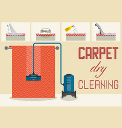 Carpet dry cleaning flat vector