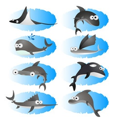 cartoon fishes vector image vector image