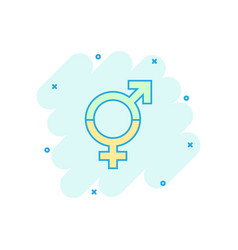 Cartoon gender equal icon in comic style men and vector
