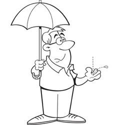 Cartoon man holding an umbrella vector image