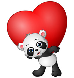 Cartoon panda hold red heart vector
