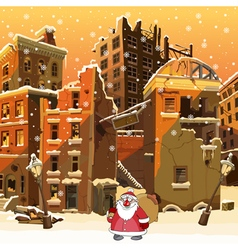 Cartoon Santa Claus with a bag in the ruined city vector