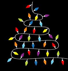 christmas lights lightbulb glowing garland vector image