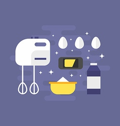 Cooking Concept Ingredients for Pancakes with vector image