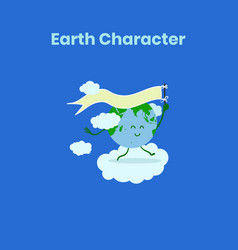 Cute and funny earth character with flag for vector