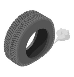 Deflating tyre icon isometric style vector