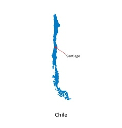 Detailed map of Chile and capital city Santiago vector image