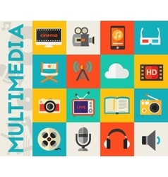 Detailed multimedia icon set vector image