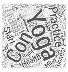 Enjoying yoga to live healthy aging word cloud vector