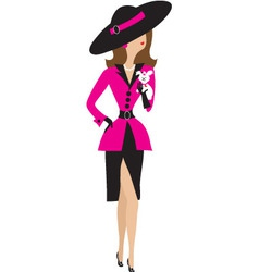 fancy lady and puppy vector image