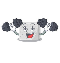 Fitness feta cheese character cartoon vector