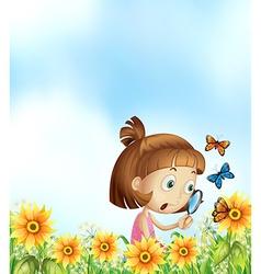 Girl and butterflies vector