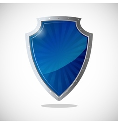 Glossy shield protection icon in blue and silver vector