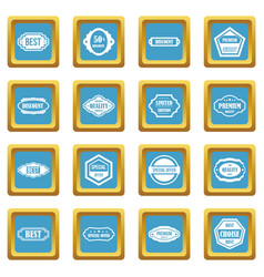 golden labels icons azure vector image