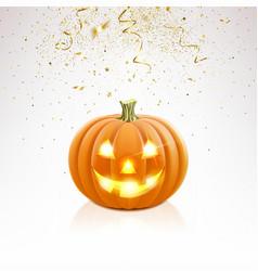 Halloween pumpkin and falling golden confetti vector