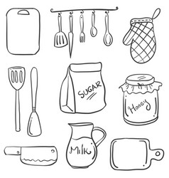 Hand draw of kitchen set doodles vector