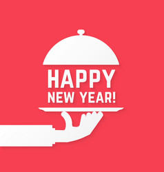 Happy new year like serving hand vector