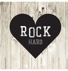 Hard rock wooden concept heart vector