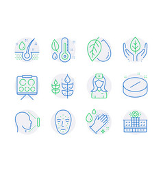 healthcare icons set included icon as mineral oil vector image