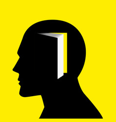 human head with books vector image