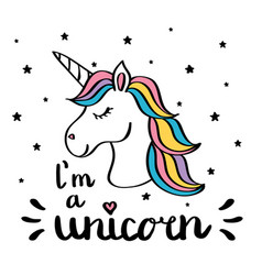 I m a unicorn handwriting text drawing isolated on vector
