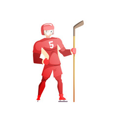 ice hockey player male athlete character in red vector image
