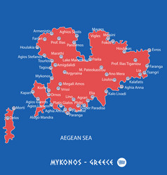 Island of mykonos in greece red map vector