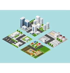 Isometric three-dimensional city vector