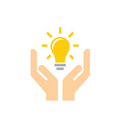 Lightbulb in hands - icon design in flat vector