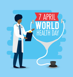 Man doctor with stethoscope to world health day vector
