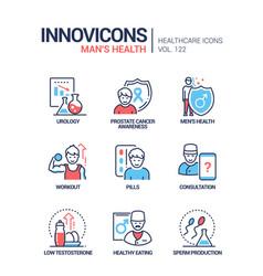 man health - line design style icons set vector image
