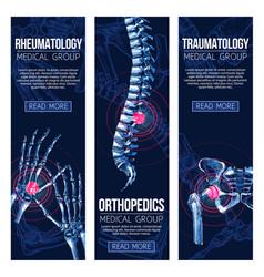 medical banners rheumatology traumatology vector image