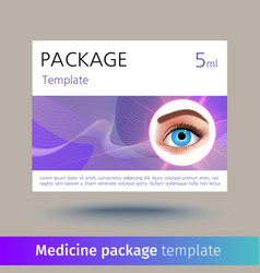 Medicine package template with realistic vector