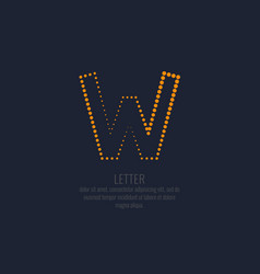 modern dotted letter w latin alphabet vector image
