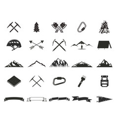 Mountain expedition silhouette icons set climb vector