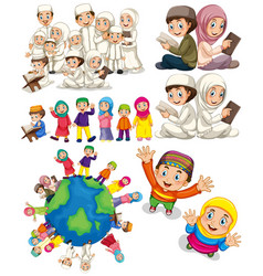 Muslim families around the world vector