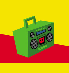 old boombox vintage cassette recorder vector image