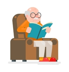 Old Man Characters Read Book Sit Chair Adult Icon vector