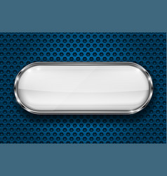 oval white button with chrome frame 3d icon on vector image
