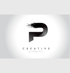 p letter design with brush stroke and modern 3d vector image