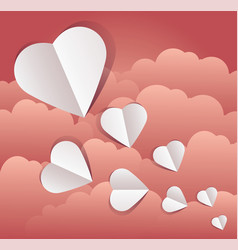 Paper cut outs hearts vector