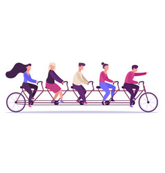 people on tandem bicycle young group vector image