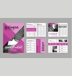 pink brochure template design layout page for vector image