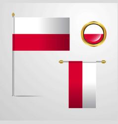 Poland waving flag design with badge vector