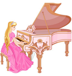 princess playing the piano vector image