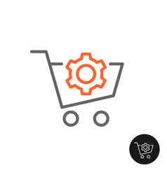 procurement shopping cart icon with gear cog vector image